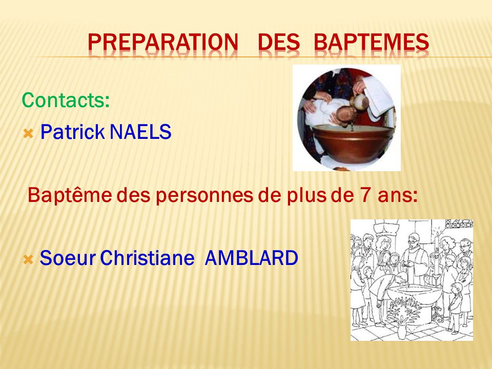 Preparation des baptemes