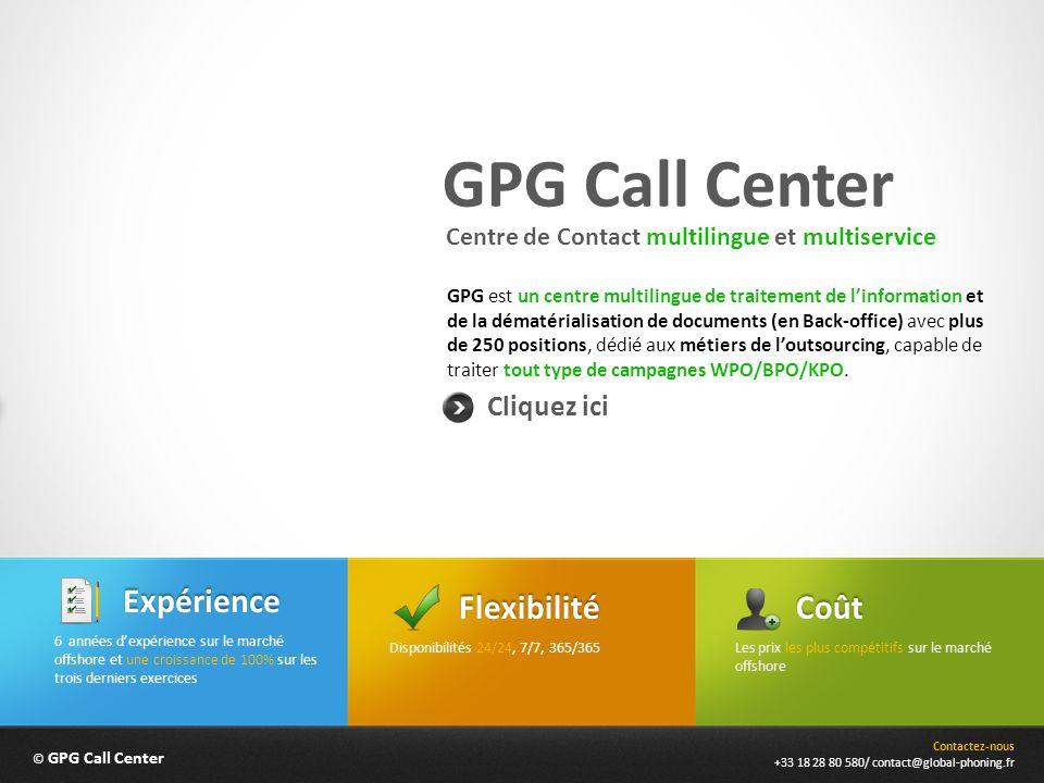 GPG Call Center Expérience Flexibilité Coût Cliquez ici