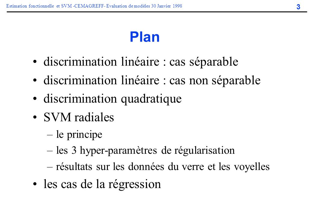 Plan discrimination linéaire : cas séparable
