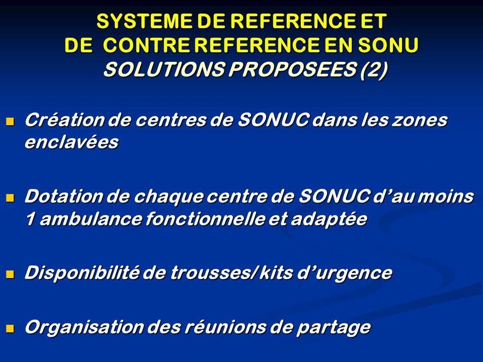 SYSTEME DE REFERENCE ET DE CONTRE REFERENCE EN SONU SOLUTIONS PROPOSEES (2)