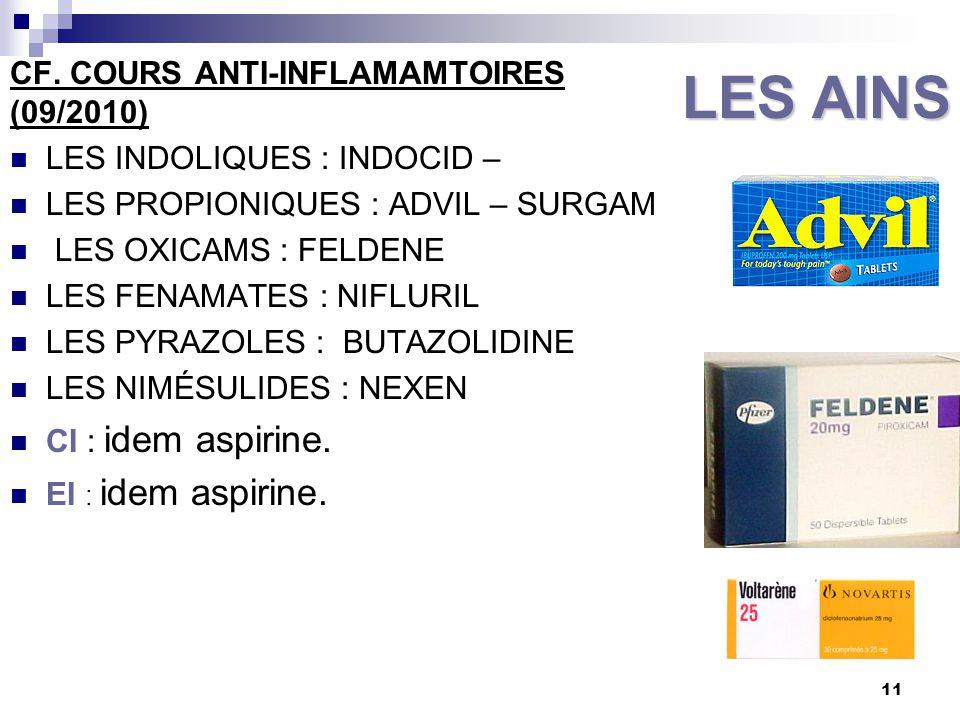 LES AINS CF. COURS ANTI-INFLAMAMTOIRES (09/2010)