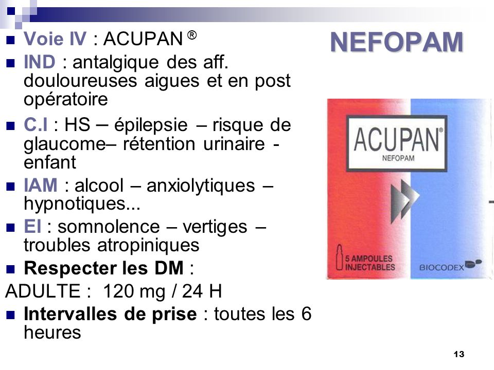 NEFOPAM Voie IV : ACUPAN ®