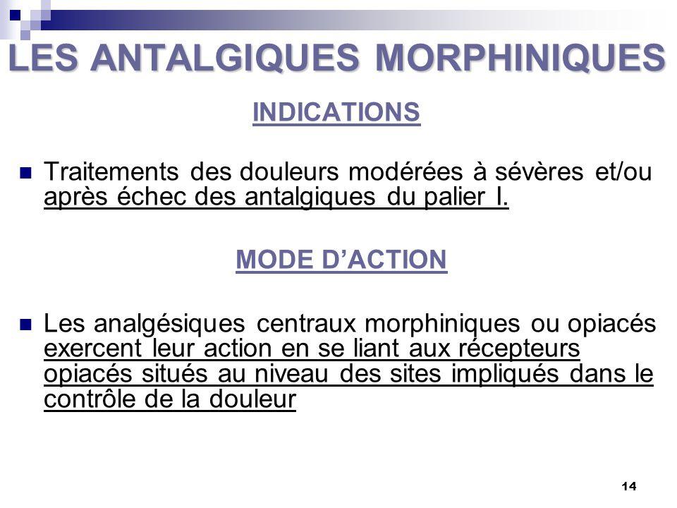 LES ANTALGIQUES MORPHINIQUES