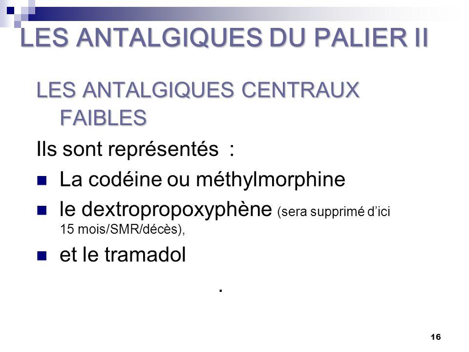 LES ANTALGIQUES DU PALIER II
