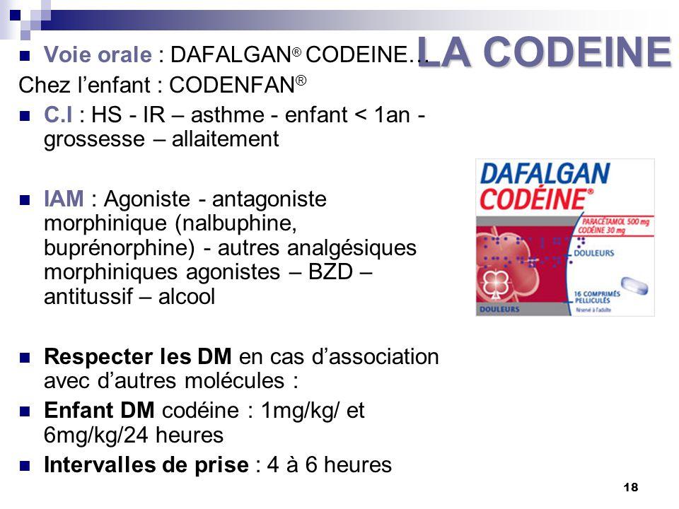 LA CODEINE Voie orale : DAFALGAN® CODEINE… Chez l'enfant : CODENFAN®