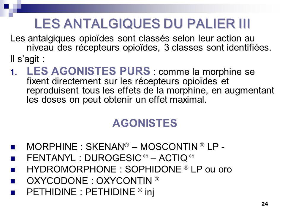 LES ANTALGIQUES DU PALIER III