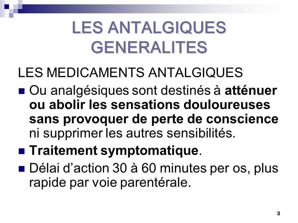 LES ANTALGIQUES GENERALITES