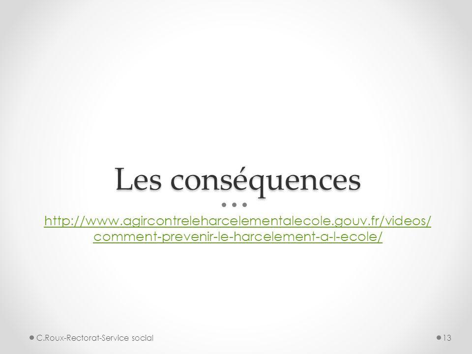 Les conséquences http://www.agircontreleharcelementalecole.gouv.fr/videos/comment-prevenir-le-harcelement-a-l-ecole/