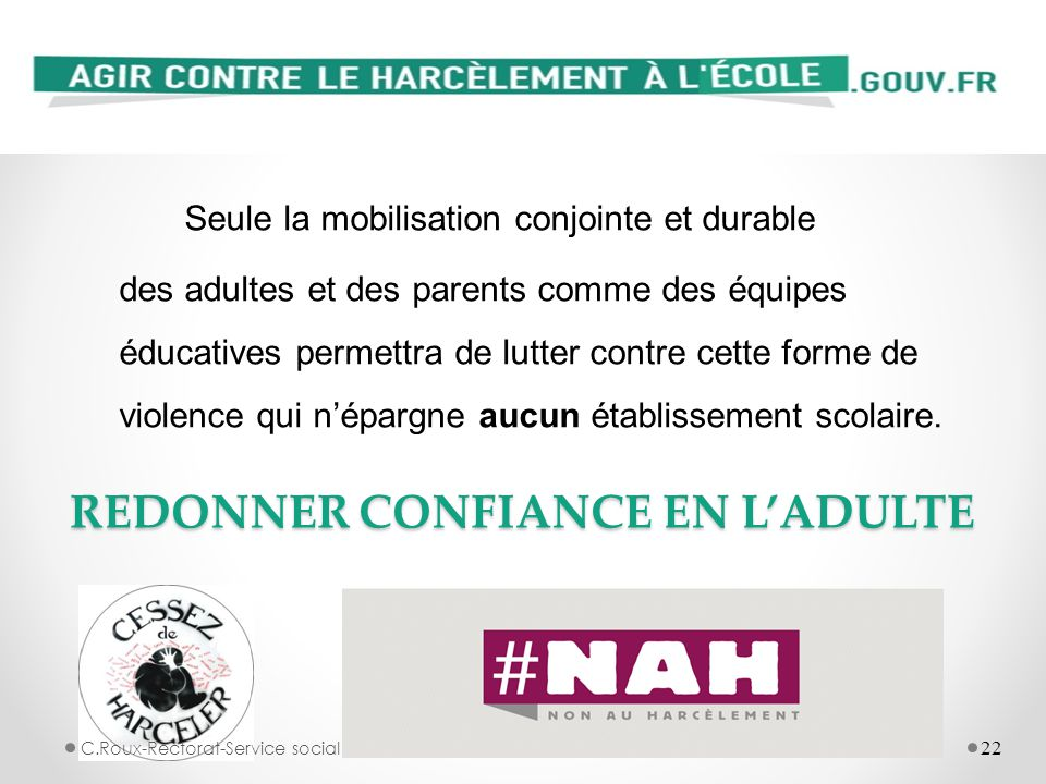 REDONNER CONFIANCE EN L'ADULTE