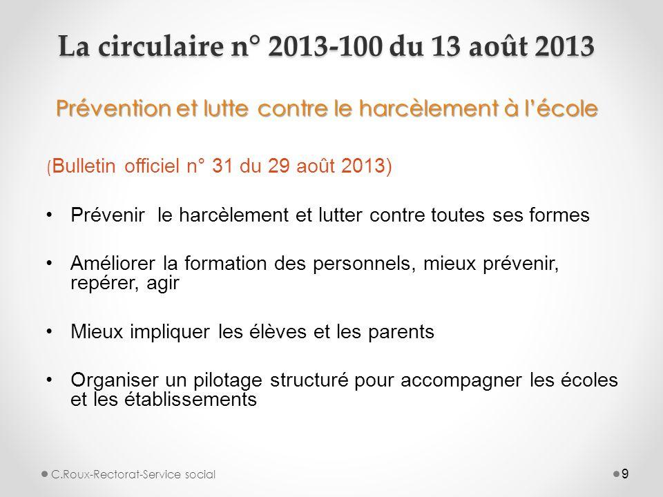 La circulaire n° 2013-100 du 13 août 2013 Prévention et lutte contre le harcèlement à l'école