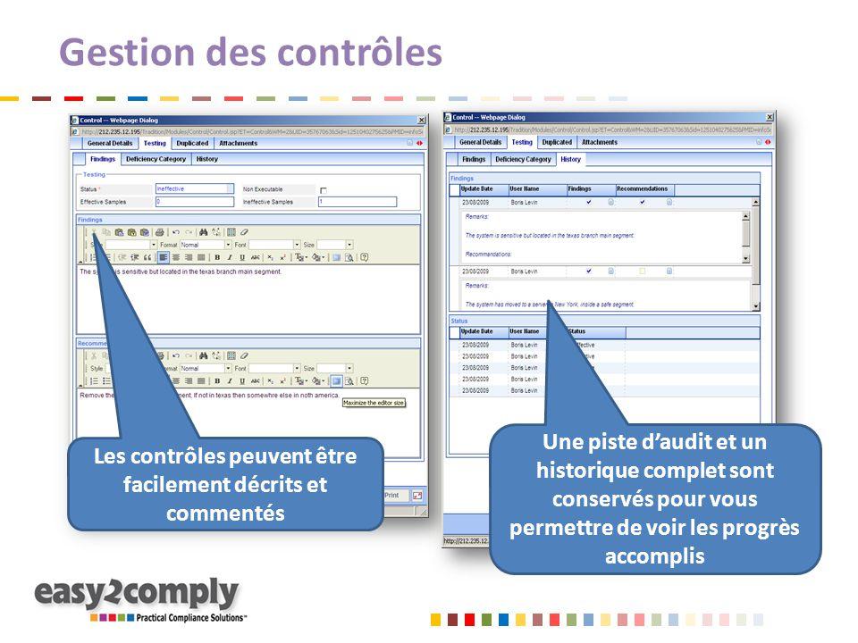 Les contrôles peuvent être facilement décrits et commentés