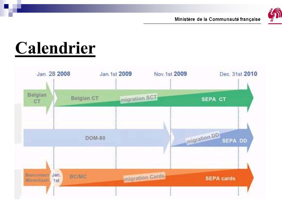 Calendrier Ministère de la Communauté française