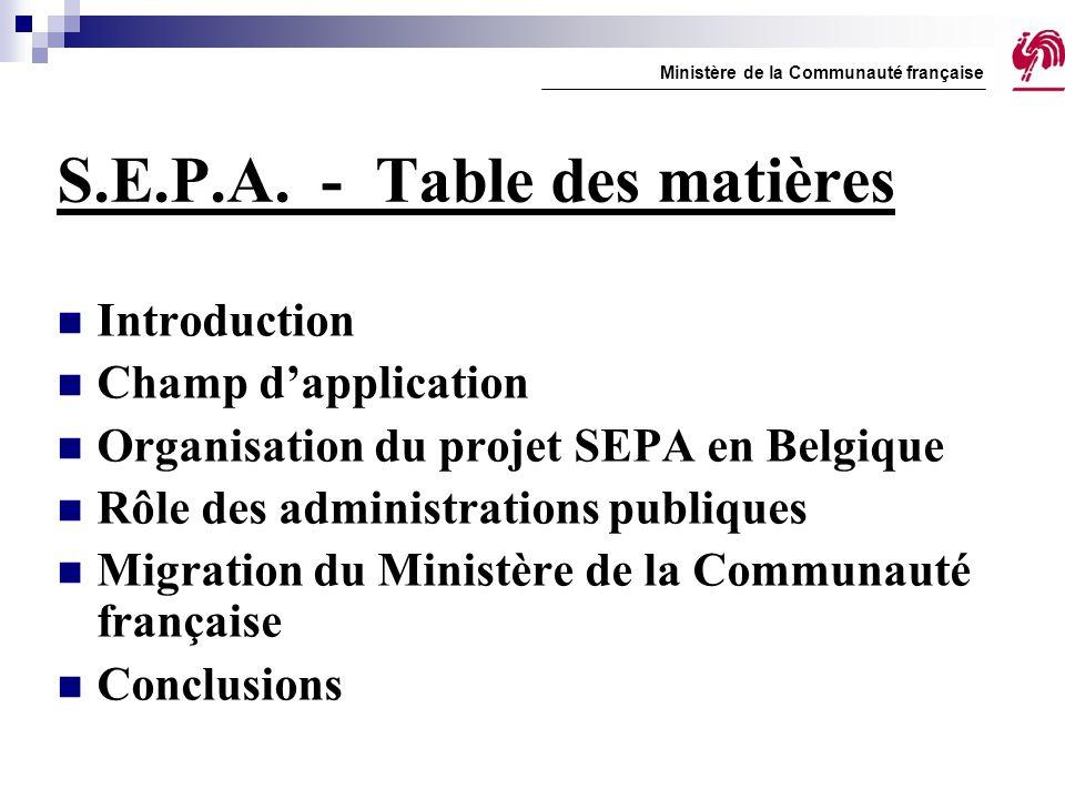 S.E.P.A. - Table des matières