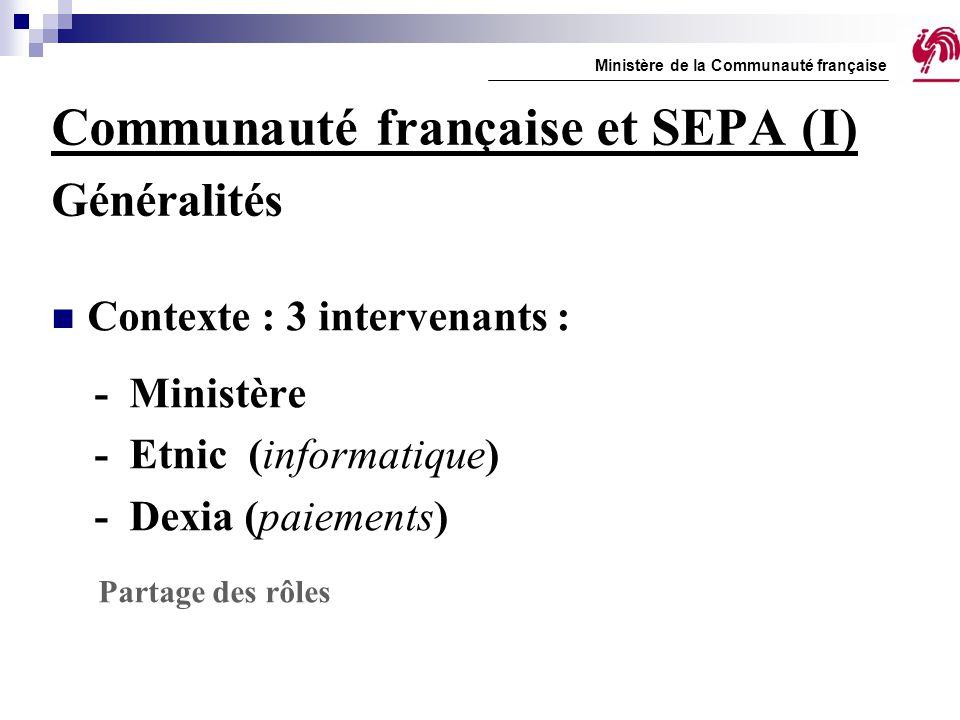 Communauté française et SEPA (I) Généralités