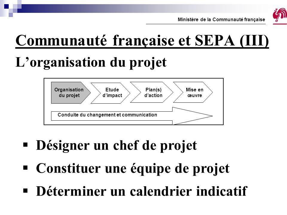 Communauté française et SEPA (III) L'organisation du projet