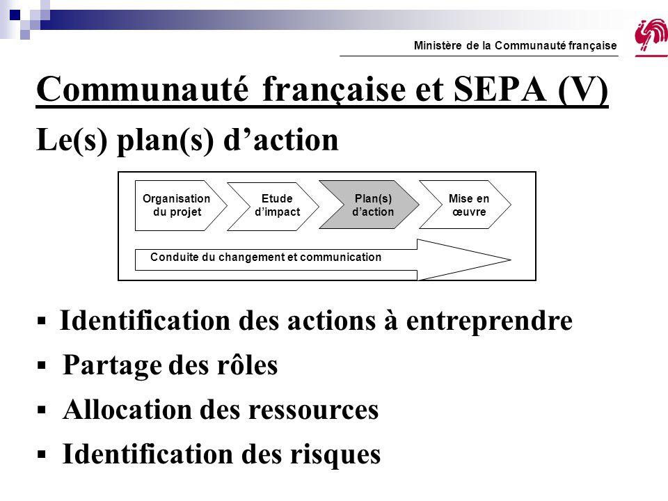 Communauté française et SEPA (V) Le(s) plan(s) d'action