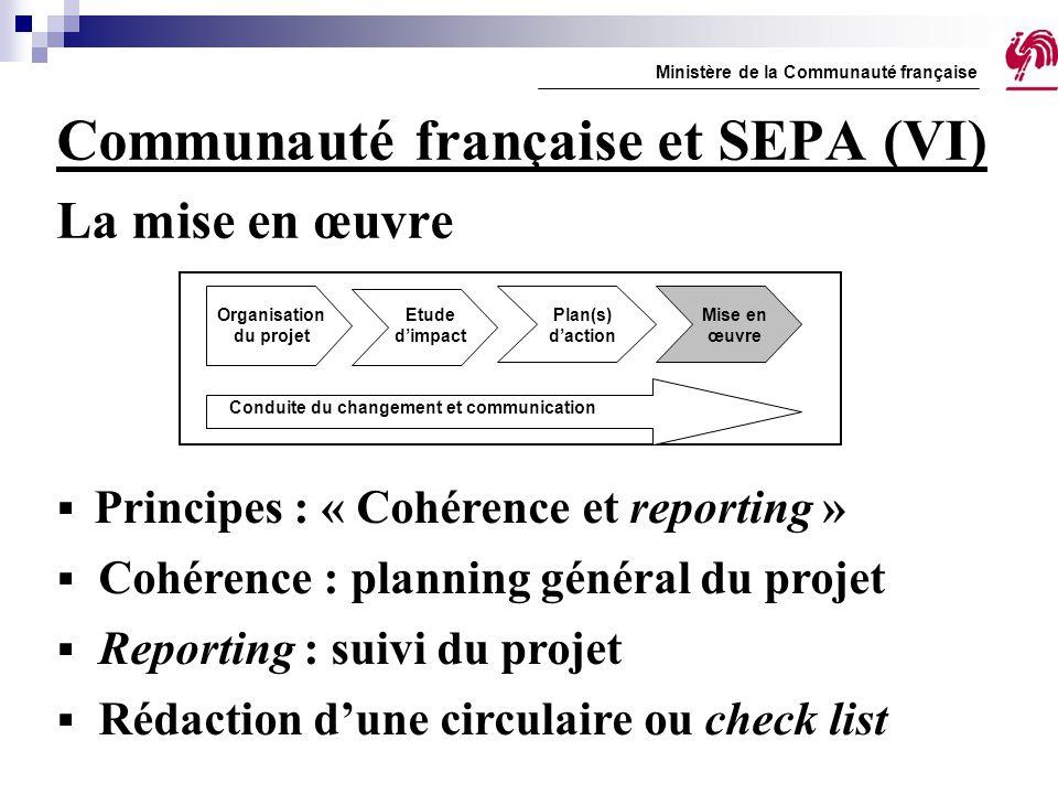 Communauté française et SEPA (VI) La mise en œuvre