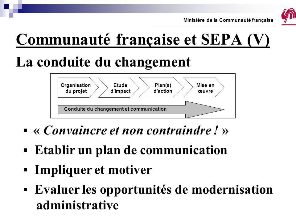 Communauté française et SEPA (V) La conduite du changement