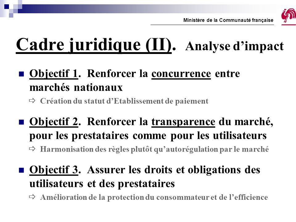 Cadre juridique (II). Analyse d'impact