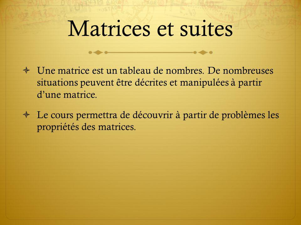 Matrices et suites Une matrice est un tableau de nombres. De nombreuses situations peuvent être décrites et manipulées à partir d'une matrice.
