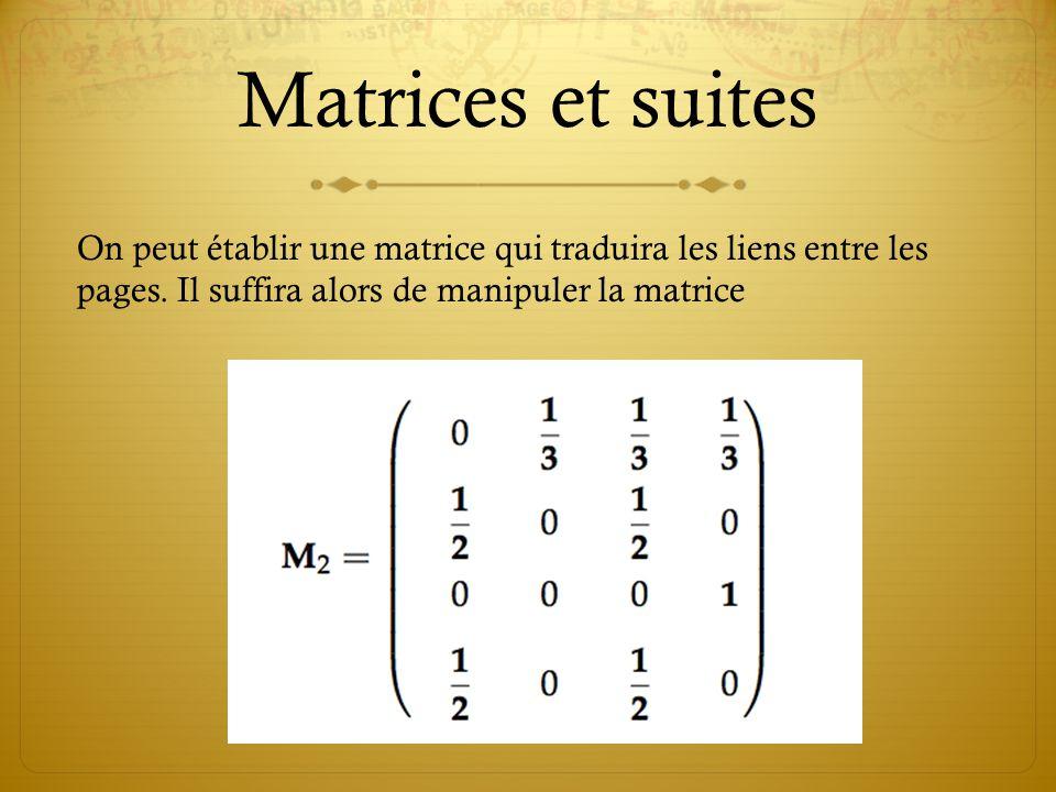 Matrices et suites On peut établir une matrice qui traduira les liens entre les pages.
