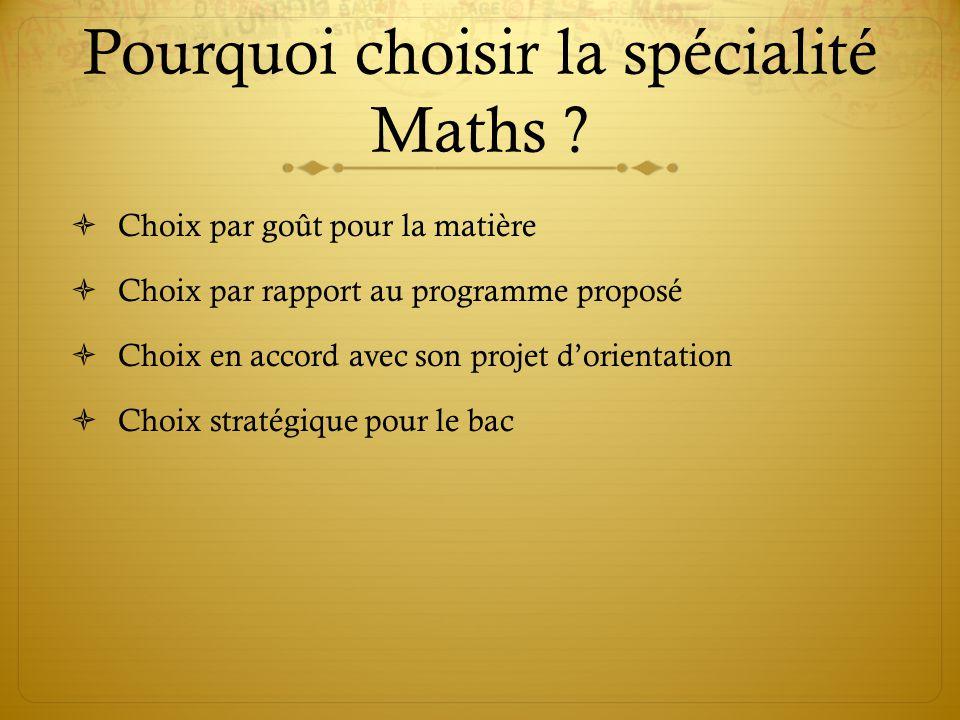 Pourquoi choisir la spécialité Maths