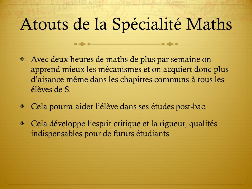 Atouts de la Spécialité Maths