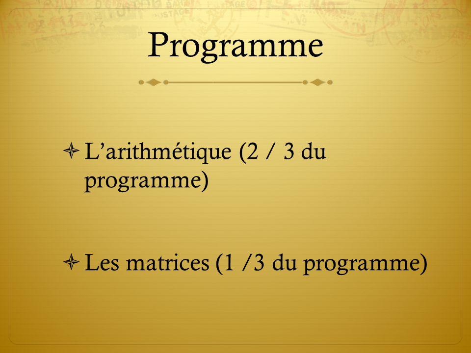 Programme L'arithmétique (2 / 3 du programme)