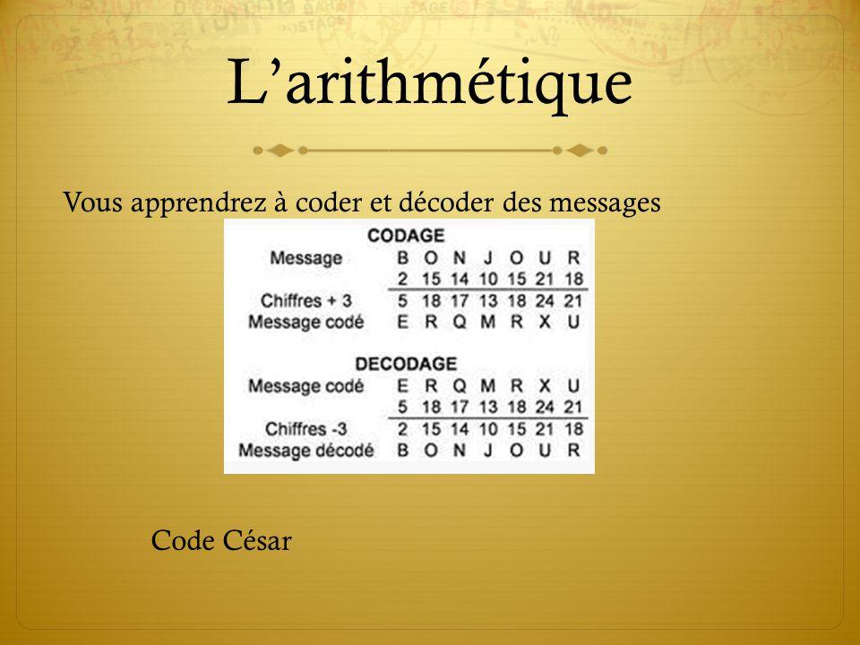 L'arithmétique Vous apprendrez à coder et décoder des messages
