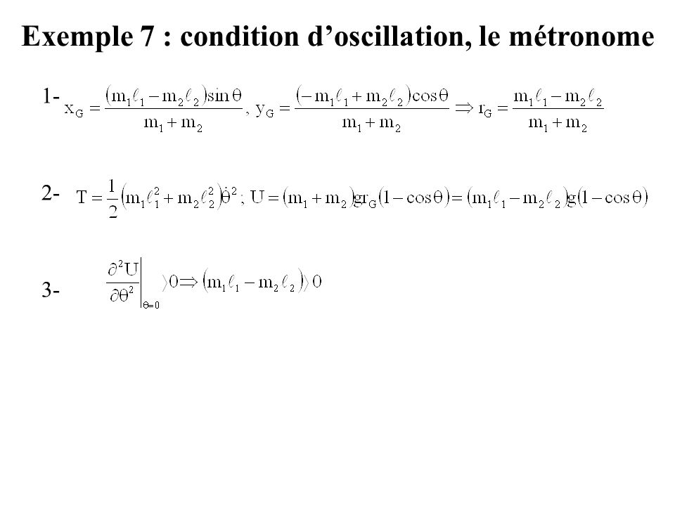 Exemple 7 : condition d'oscillation, le métronome