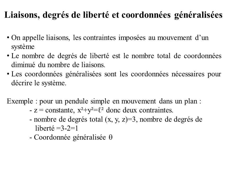 Liaisons, degrés de liberté et coordonnées généralisées