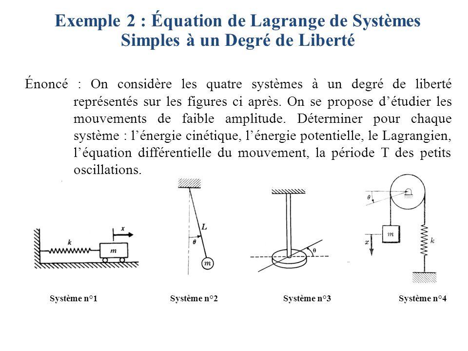 Exemple 2 : Équation de Lagrange de Systèmes Simples à un Degré de Liberté