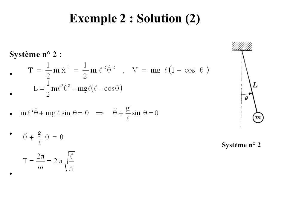 Exemple 2 : Solution (2) Système n° 2 : Pour le pendule, nous avons :