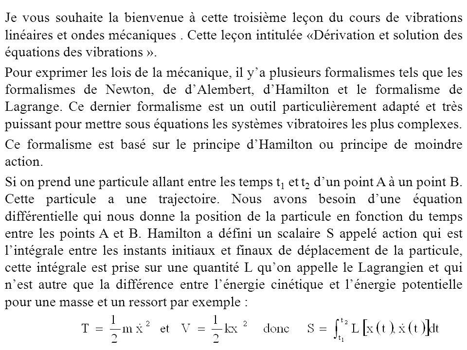 Je vous souhaite la bienvenue à cette troisième leçon du cours de vibrations linéaires et ondes mécaniques .