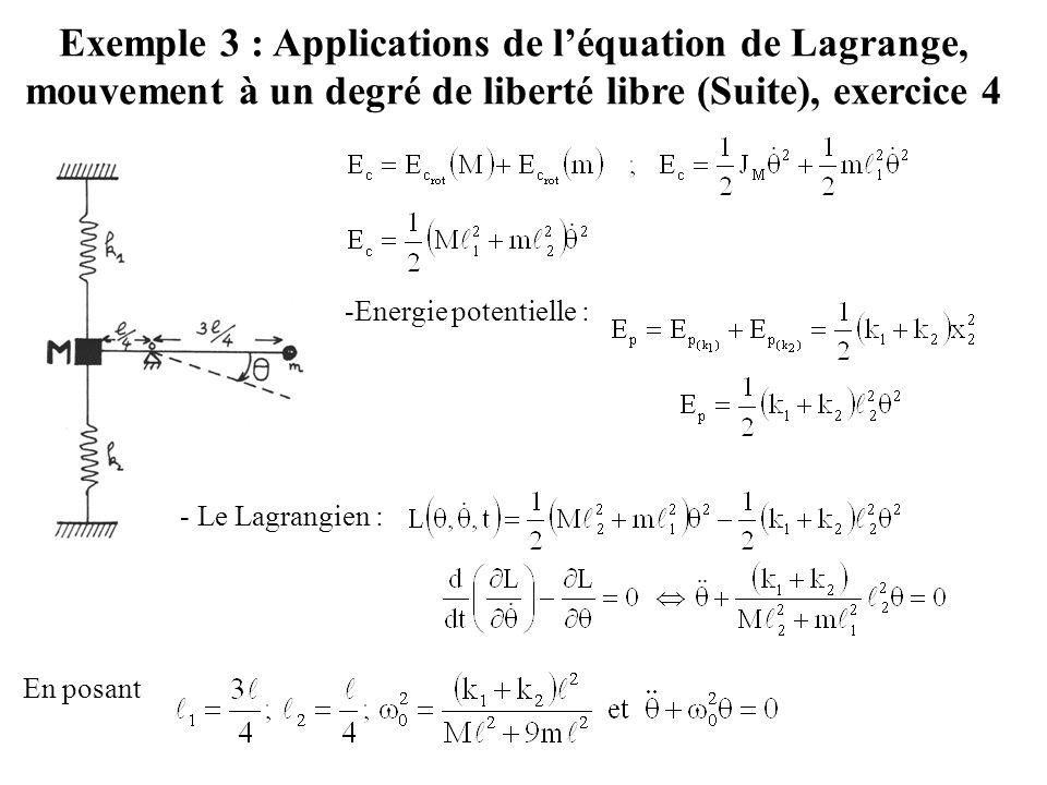 Exemple 3 : Applications de l'équation de Lagrange, mouvement à un degré de liberté libre (Suite), exercice 4