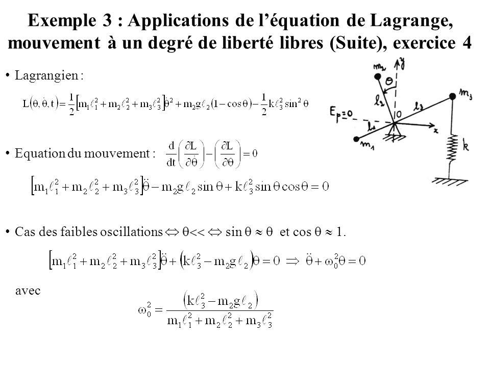 Exemple 3 : Applications de l'équation de Lagrange, mouvement à un degré de liberté libres (Suite), exercice 4