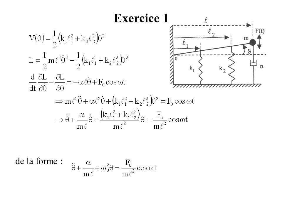 Exercice 1 de la forme : où la force de frottement f est telle que