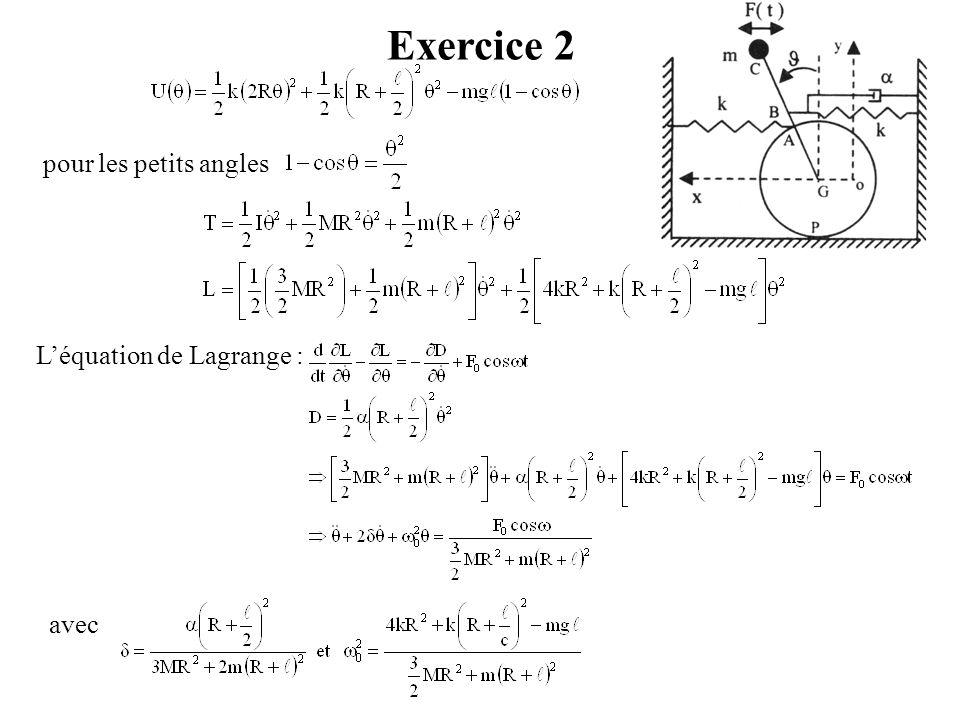 Exercice 2 pour les petits angles L'équation de Lagrange : avec