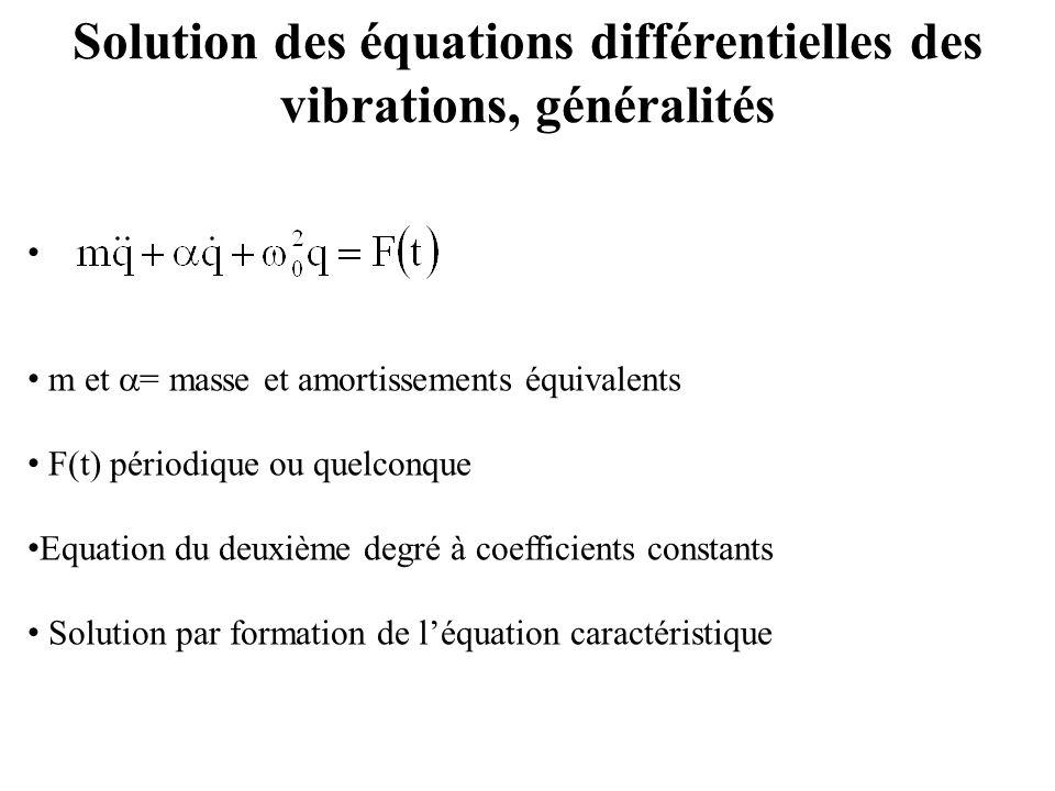 Solution des équations différentielles des vibrations, généralités