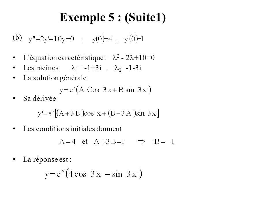 Exemple 5 : (Suite1) (b) L'équation caractéristique : 2 - 2+10=0