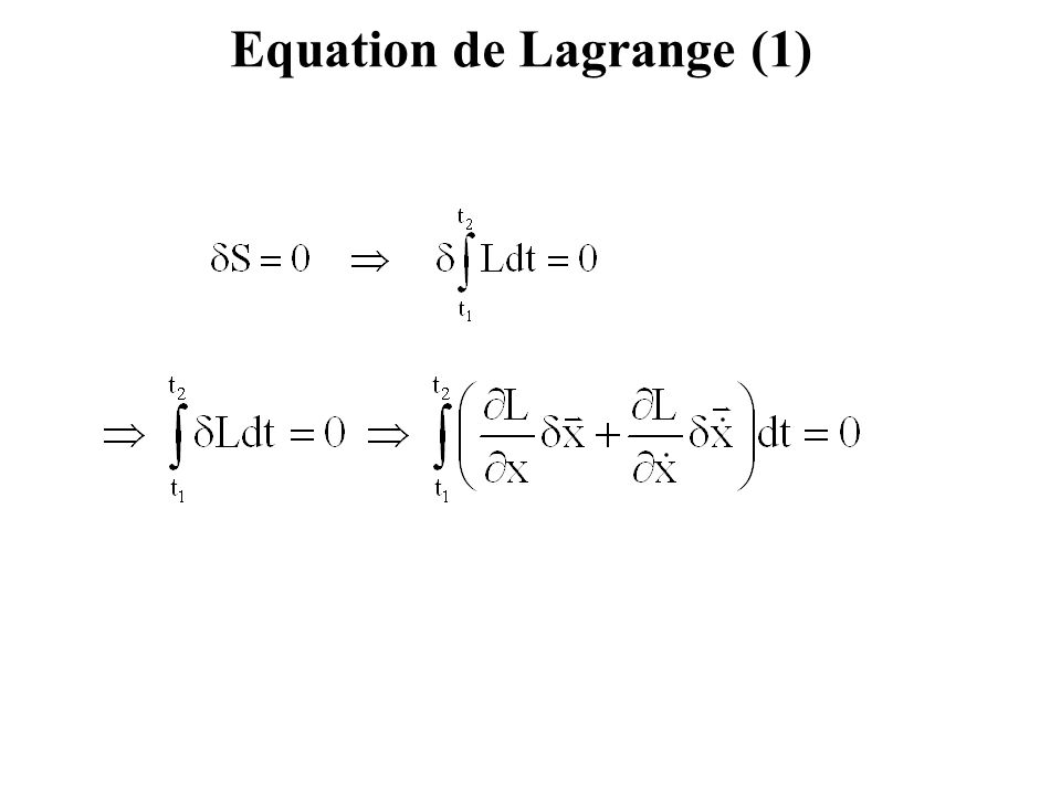 Equation de Lagrange (1)