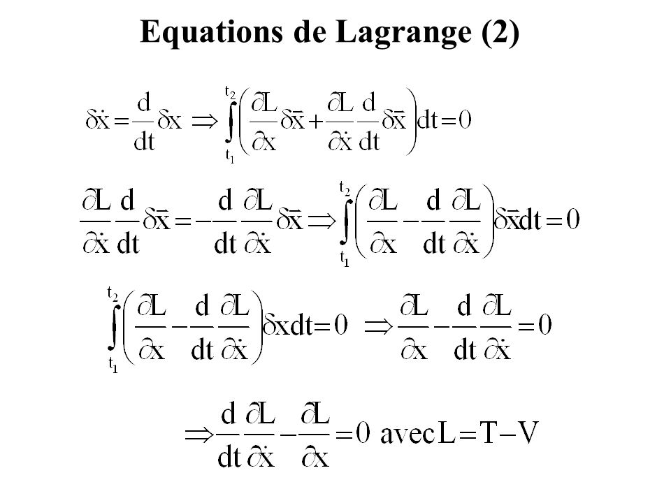 Equations de Lagrange (2)