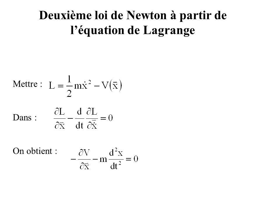 Deuxième loi de Newton à partir de l'équation de Lagrange