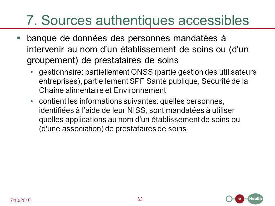 7. Sources authentiques accessibles