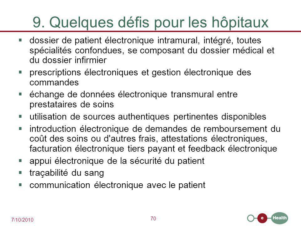 9. Quelques défis pour les hôpitaux