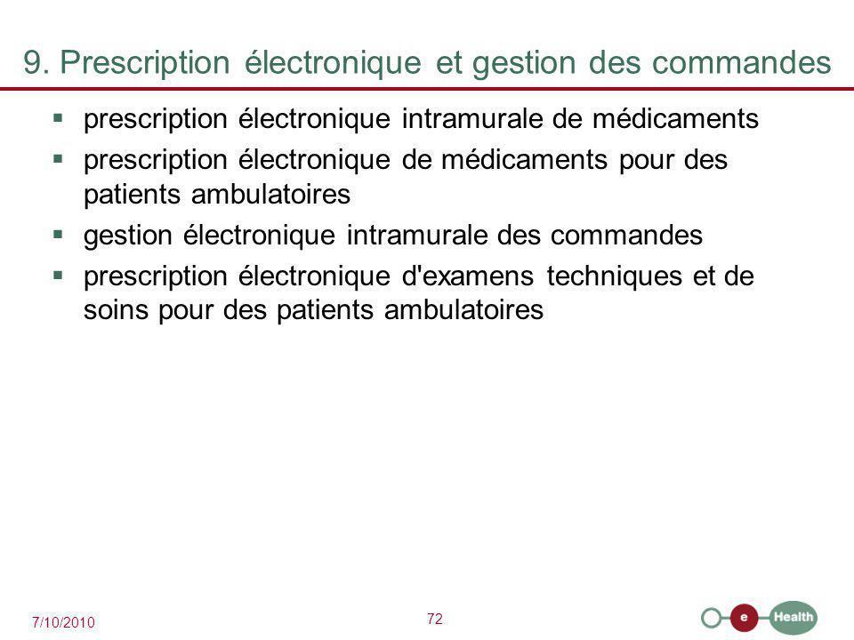 9. Prescription électronique et gestion des commandes