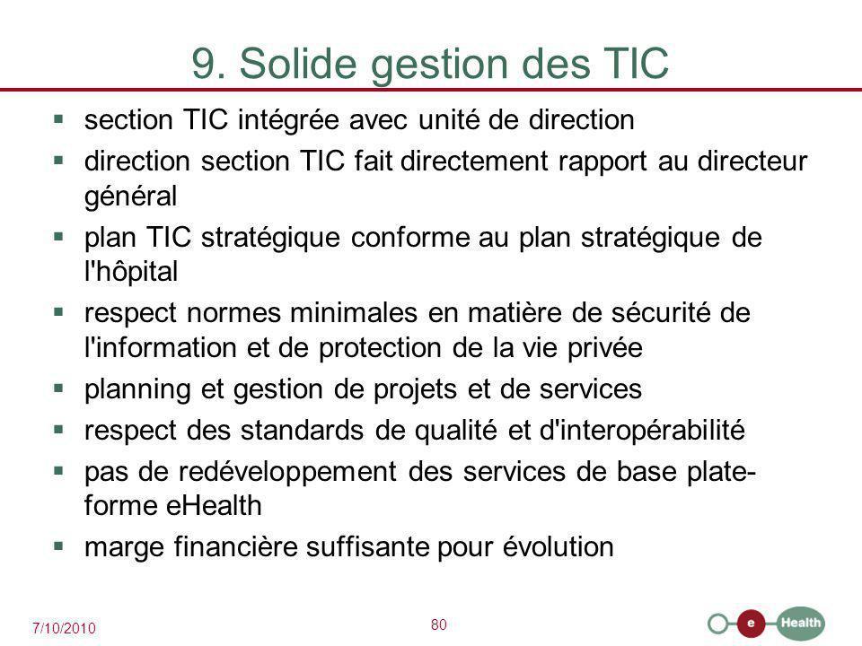 9. Solide gestion des TIC section TIC intégrée avec unité de direction