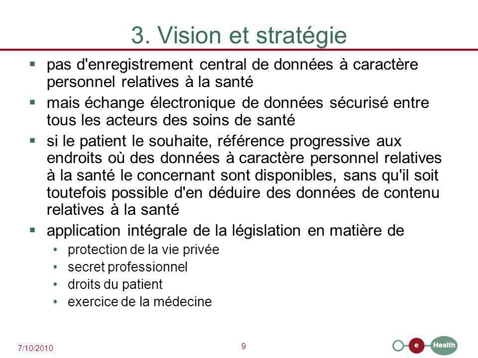3. Vision et stratégie pas d enregistrement central de données à caractère personnel relatives à la santé.