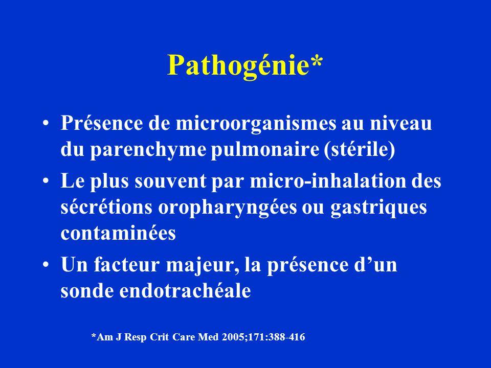 Pathogénie* Présence de microorganismes au niveau du parenchyme pulmonaire (stérile)
