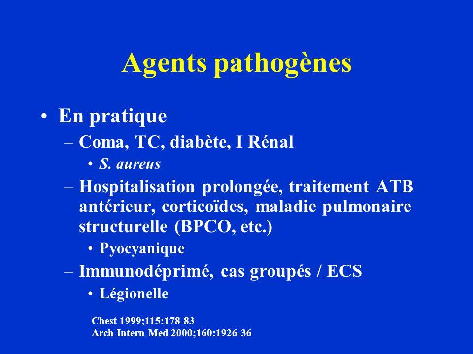 Agents pathogènes En pratique Coma, TC, diabète, I Rénal